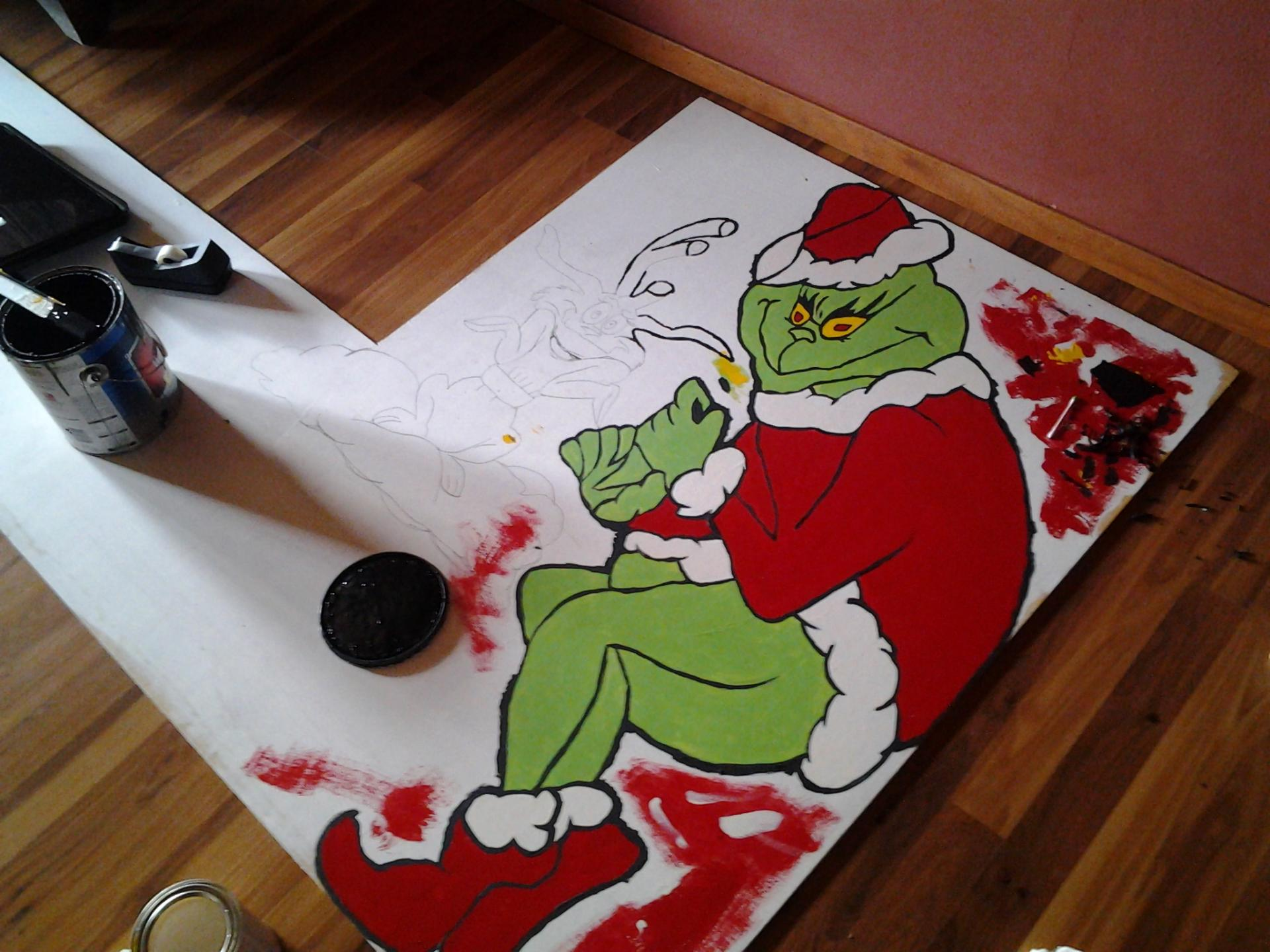 The Grinch - yard art sign (in the making)