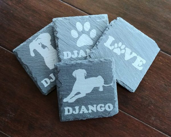 Etched Slate Coasters - Personalized
