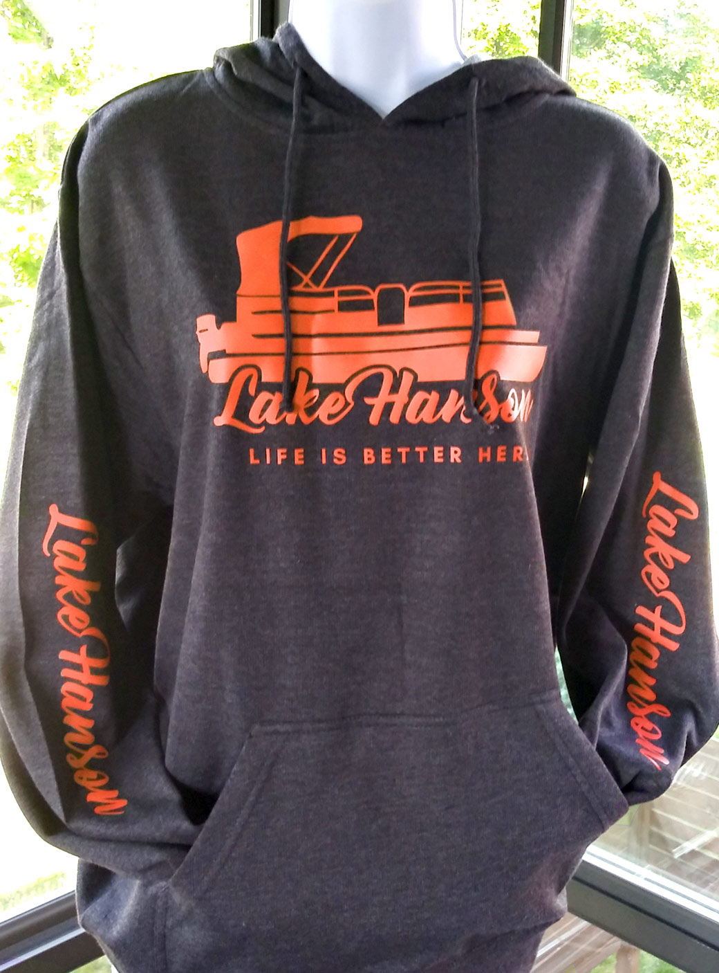 Lake Hanson Fleece Sweatshirt - Hoodie, Pullover charcoal - orange