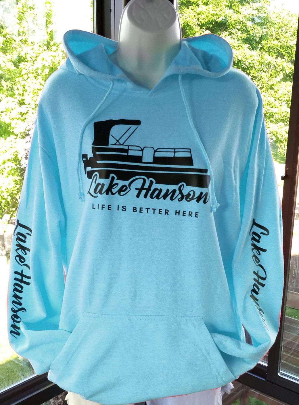 Lake Hanson Fleece Sweatshirt - Hoodie, Pullover blue pool