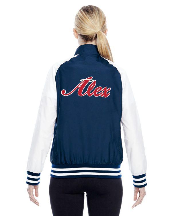 Womens Navy Blue Alex Angels Jacket back