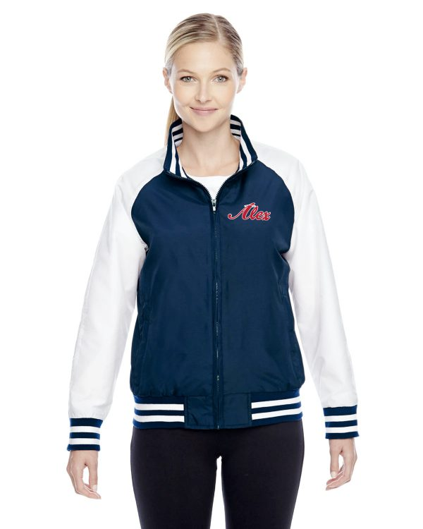 Womens Navy Blue Alex Angels Jacket front