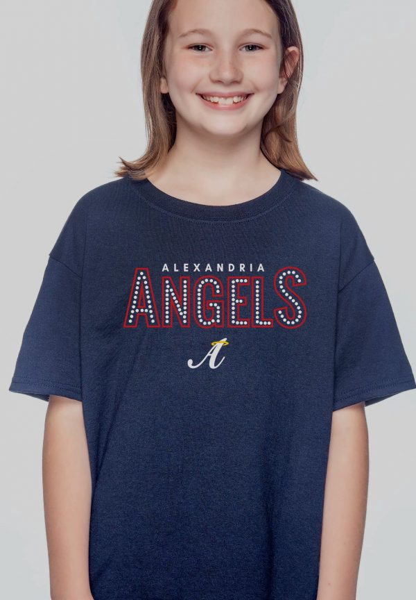 Navy Kids Gildan Alex Angels Tshirt (w/Dot Design)