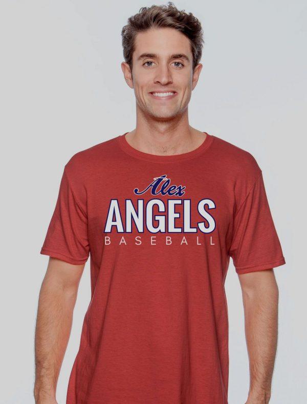 Solid Red Mens Gilden Alex Angels Tshirt