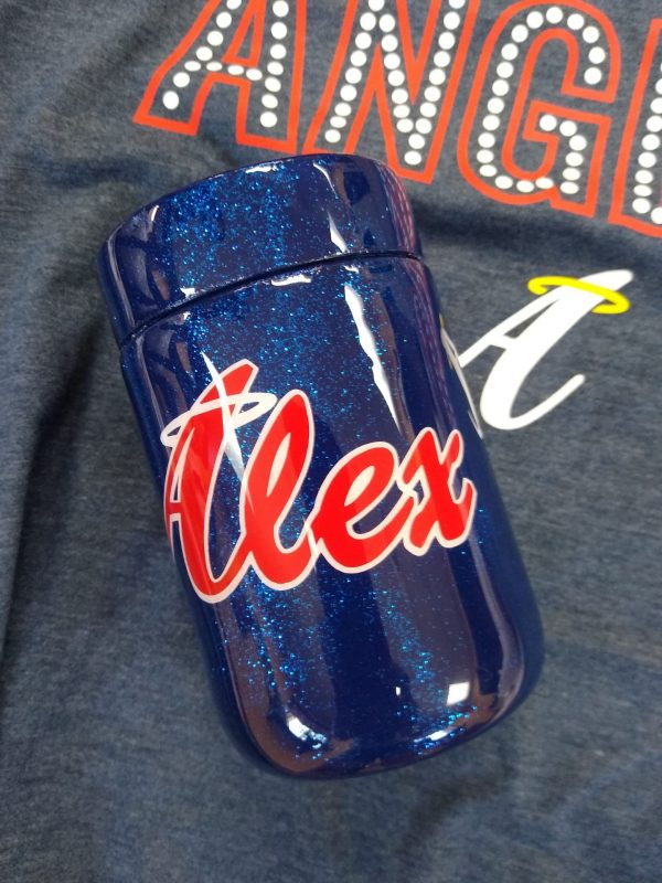 Blue Glitter Stainless Steel Beer Koozie - Angels (add your last name)