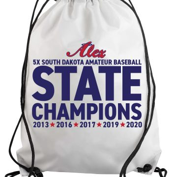 White SD State Champions Alex Angels Drawstring Backpack