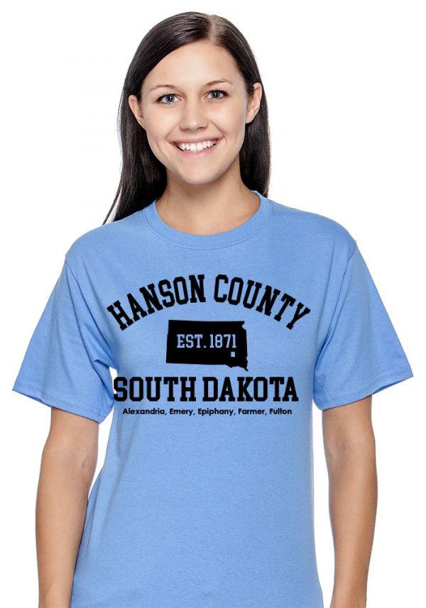 Heather Blue Hanson County, SD (South Dakota) Tshirt - 150 Years Tribute!