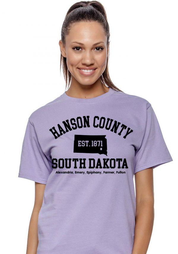 Lavender Hanson County, SD (South Dakota) Tshirt - 150 Years Tribute!