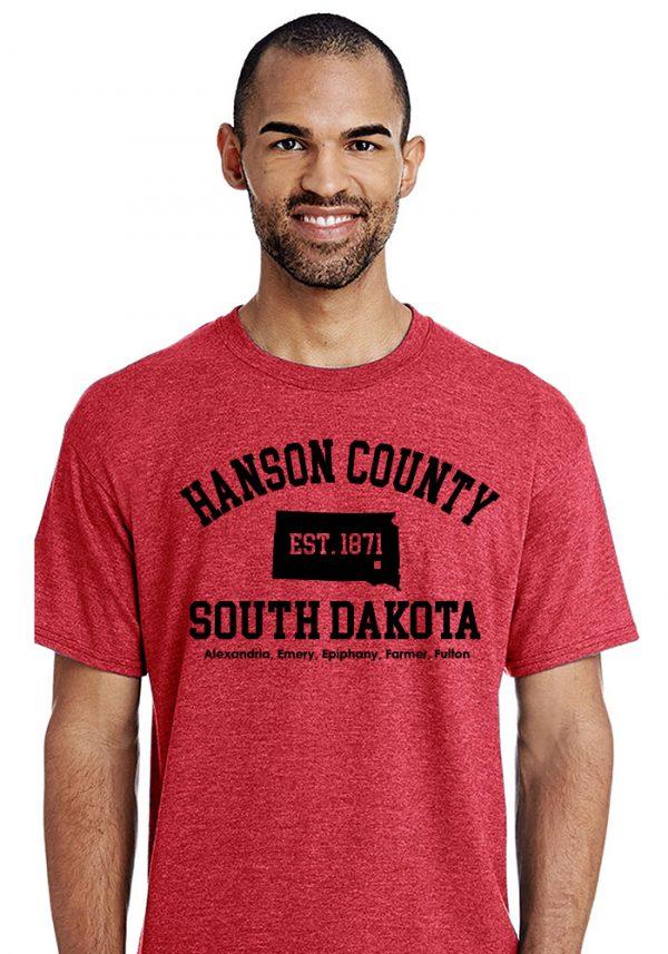 Red Hanson County, SD (South Dakota) Tshirt - 150 Years Tribute!